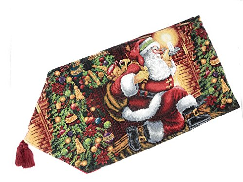 Tache Festive Winter Holiday Christmas Down The Chimney Decorative Tapestry Table Runners, 13 x 54 Inches