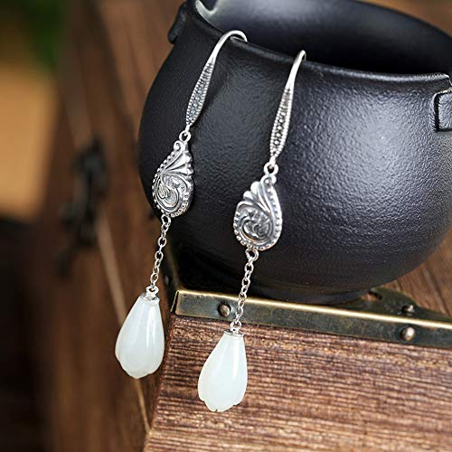THTHT Vintage Earrings S925 Silver for Women Inlaid Natural White Jade Ear Hooks Simple and Stylish Aesthetic Temperament High-End Classical Chinese Style