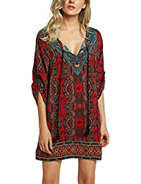 71871ae79a Women Bohemian Neck Tie Vintage Printed Ethnic Style Summer Shift Dress