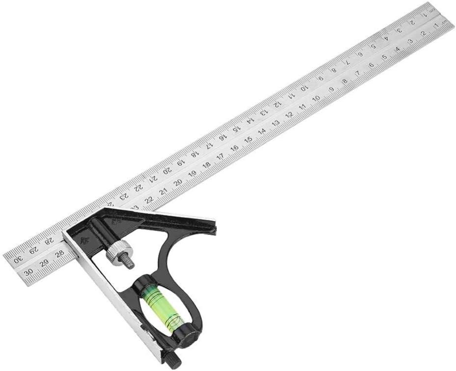 Zhoul 300mm 12 pulgadas Combinaci/ón ajustable de metal Regla de /ángulo recto Herramienta de medici/ón de ingeniero Equipo de aprendizaje para estudiantes de la escuela