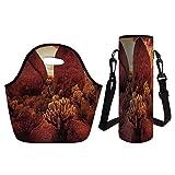 3D Print Neoprene lunch Bag with Kit Neoprene Bottle Cover,Saguaro Cactus Decor,Dramatic Desert Scenery Like Burnt by Sun Near Scottsdale Hot Rocks Serene Western Image,Red,for Adults Kids