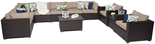 TK Classics 11 Piece Belle Outdoor Wicker Patio Furniture Set