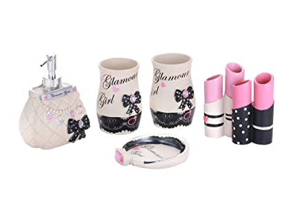 5 Pieces Glamour Girl Bathroom Accessory Set Complete, Ivory Girly Bathroom  Decor For Bathroom,