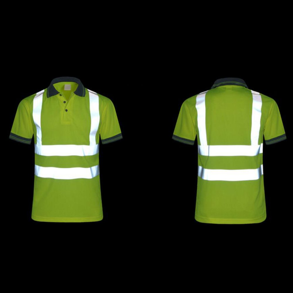 TOPTIE 50 PCS Men's Polo Shirts, Short Sleeve Safety Neon Yellow Shirt for Night Running Wholesale by TOPTIE (Image #4)