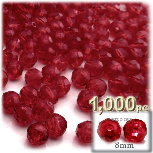 The Crafts Outlet 1000-Piece Faceted Plastic Transparent Round Beads, 8mm, Raspberry Red
