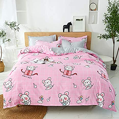 Teen Bedding for Girls Bedroom Without Quilts Cute Hamster,Yellow, Twin,59x79 YZ ORIHOME Beding Set Twin//Full//Queen//King Animal Collection Rabbit Flamingo Puppy Print- 4 Piece Bedding Sets