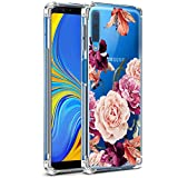 LUOLNH Galaxy A7 2018 Case,Samsung Galaxy A7 2018 Case with Flower,Slim Shockproof Clear Floral Pattern Soft Flexible TPU Back Cover for Samsung Galaxy A7 2018(Purple)