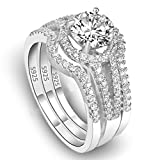 EleQueen 1.25 Carat Round Cubic Zirconia 925 Sterling Silver 3 in 1 Wedding Band Ring, Size 8