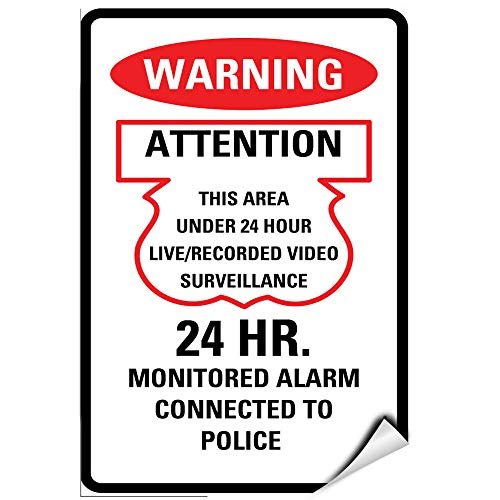 24 Hr Computer Vinyl - Yilooom 24 Hr Video Surveillance Monitored Alarm Connected to Police Label Decal Sticker