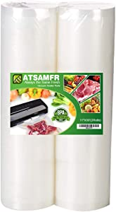 ATSAMFR 11x50 Rolls 2 Pack Vacuum Sealer Food Saver Bags Rolls with BPA Free,Heavy Duty,Great for Vac storage or Sous Vide Cooking