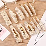 12 Pcs Pearl Hair Clips Large Hair Clips Pins Barrette Ties Hair for Women Girls, Elegant Handmade Fashion Hair Accessories Pearl Hair Clips for Party Wedding Daily
