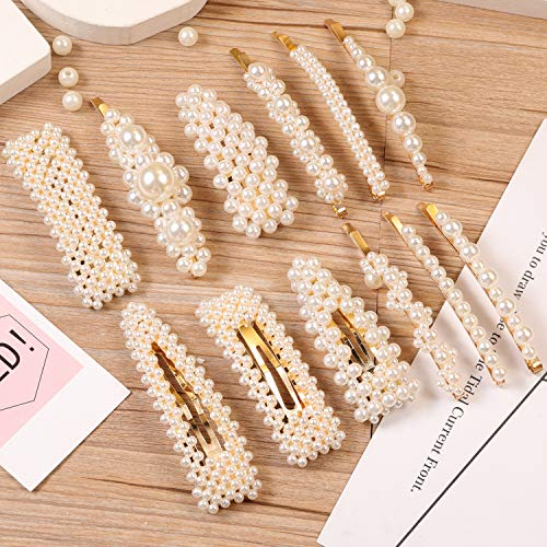 12 Pcs Pearl Hair Clips Large Hair Clips Pins Barrette Ties Hair for Women Girls Elegant Handmade Fashion Hair…
