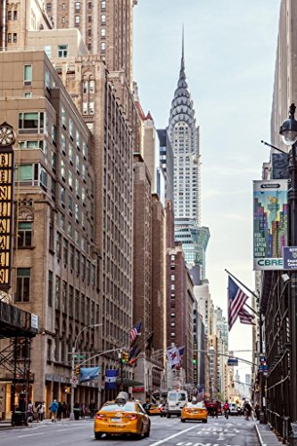 New York City Street View with Chrysler Building Photo Art Print Poster 24x36 inch -