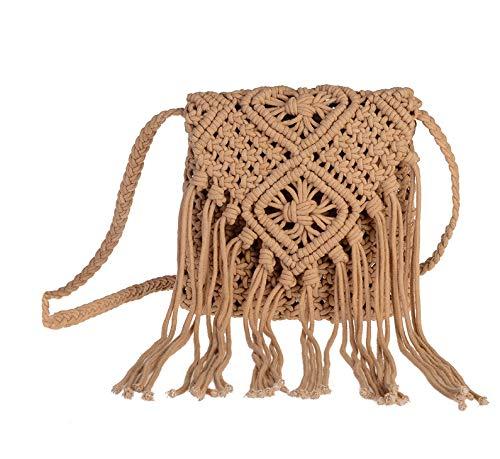 Women Weave Fringed Pouch Cotton Tassel Shoulder Bag Summer Beach Purse and Handbags ()
