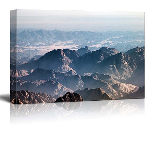 Aerial View of Remote Mountain Ranges with Jagged Peaks in Egypt Stretching Back into the Distance in a Beautiful Tranquil Landscape Wall Decor Wood Framed