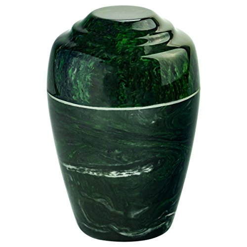 Verde Grecian Cultured Marble Urn by Mackenzie Vault, Extra Small Size Green Stone, 6.5 Inches High