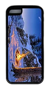 sell cover winter campfire art TPU Black Case for iphone 5C