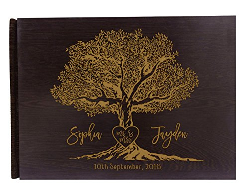 Handmade Tree Design Personalized Guest Book Rustic Wedding Wood Wooden Engraved Advice Book – 50 Page