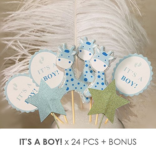Value Pack- 24 Cupcake Toppers Picks- Various Themes (It's a Boy!) -