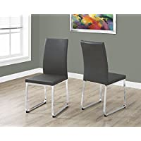 38H GREY LEATHER-LOOK AND CHROME DINING CHAIR, SET OF 2