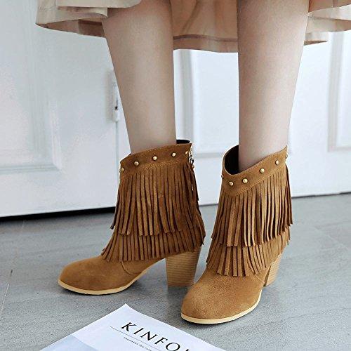 Mee Shoes Damen Quaste chunky heels Nubuck Stiefel Gelb