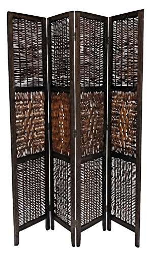 Legacy Decor 4 Panel Bamboo and Wood Screen Room Divider, Weave Design with a Diamond Shaped Accent, Espresso Color