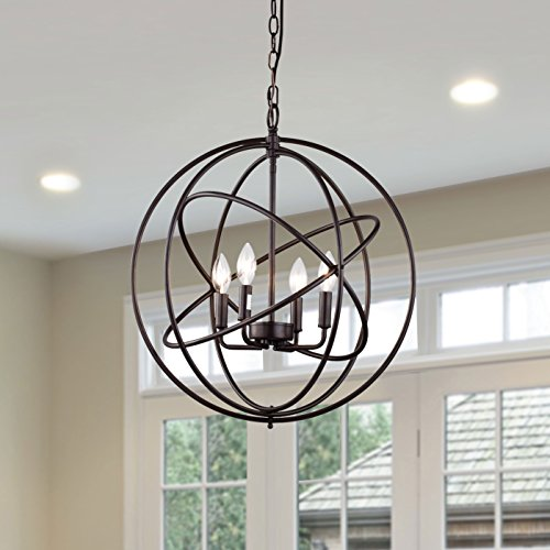 CLAXY Ecopower Industrial Spherical ORB Color 4 Lights Displays Changeable  Metal Cage Chandeliers