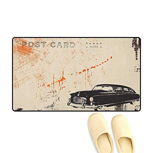 (YGUII Vintage Car Bathroom Mat for tub Non Slip Art with Classic Old Fashioned Car on The Street Vintage Postcard Style Design 16X23.6in (40x60cm) Beige Black)