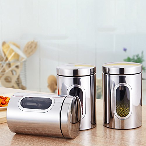 Stainless Steel Kitchen Canister Set Food Storage Jar Flour Sugar Tea Coffee(3, Silver) Silver Coffee Tea Set