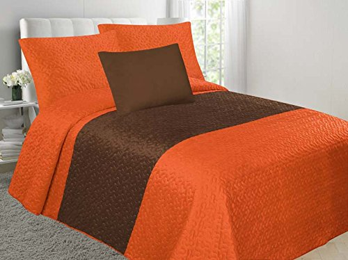 EMPIRE Allison 4-Piece Soft Velvet Touch Quilted Bedspread Multi-Color Bed Cover Set Overstock Sale! (Orange & Brown, Full) ()