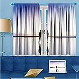 SCOCICI1588 Room Darkening Rod Pocket Window Curtains, Mirror in the sky tea card Saline Lake, Set of Two Panels, W84'' x L84'' Pair