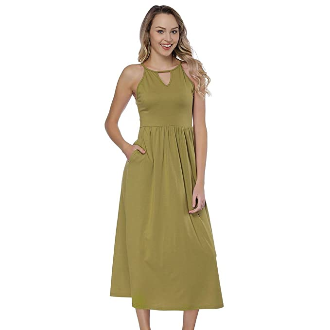 HUHHRRY Vestido Largo Mujer Ajustado de Verano Falda para Fiesta O Playa Suelto Top Ropa Tirante