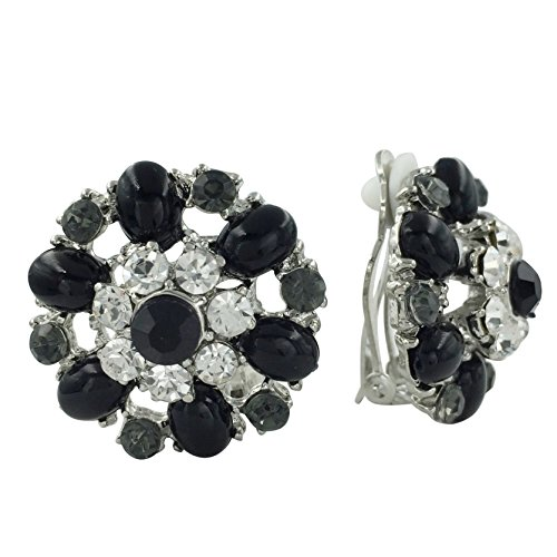 (Rhinestone & Gem Flower Clip on Formal Fancy Earrings (BLack Grey Clear Silver Tone))