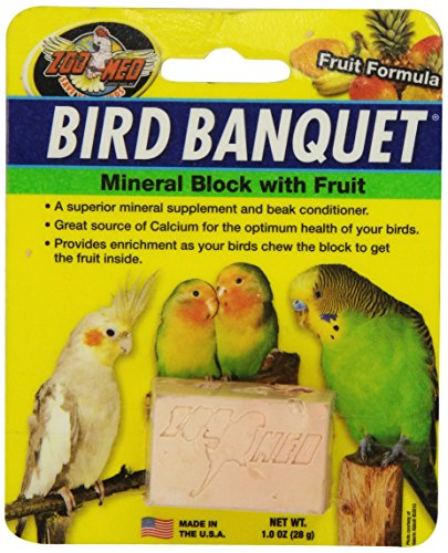 Zoo Med 26384 Bird Banquet Fruit Mineral Block, 1 oz/Small