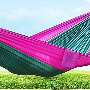 """Doble Hamaca–ligero portátil hamacas con hasta 600libras Capacidad de ruptura, mosquetones y cuerdas incluidas para mochileros, Camping, Senderismo, Viajes, playa, Patio (102""""× 55""""), Purple+Green"""