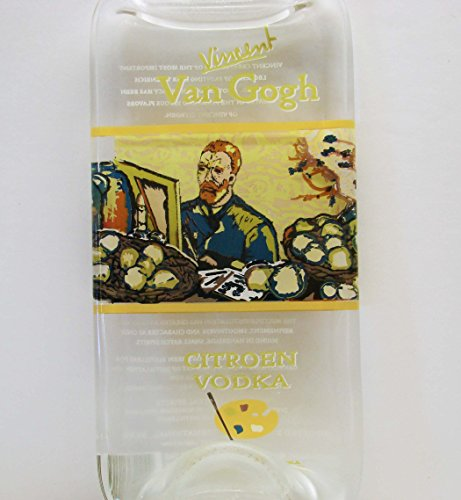 Vincent Van Gogh Citroen Vodka Bottle Slumped Flat for Candle Holder or Cheese Platter Tray (Vodka Van Gogh)