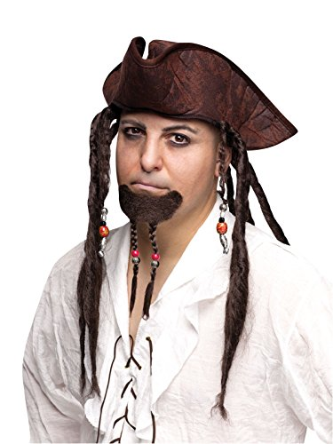 [Adult Mens Facial Hair Pirate Braided Braid Goatee Beard Costume Accessory NEW] (Pirate Hair)