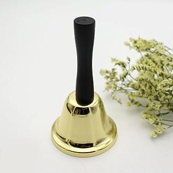 Flower205 Campana de mano de metal para té de 65 mm, divertida campana de mano de juguete chapada en oro, alta llamada, mesa de comedor, campana de altura 117 mm: Amazon.es: Belleza