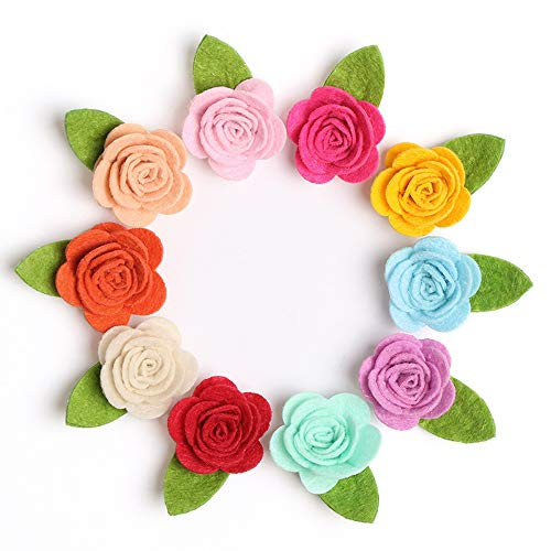 (20PCS Infant Baby Girl Mini Felt Rosette Flower Hair Clip Pin Toddler Small Snap Barrettes for Fine Hair )