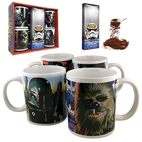 Disney Star Wars 4 Piece Ceramic Mug Gift Set with Chocolate Fudge Cocoa Mix