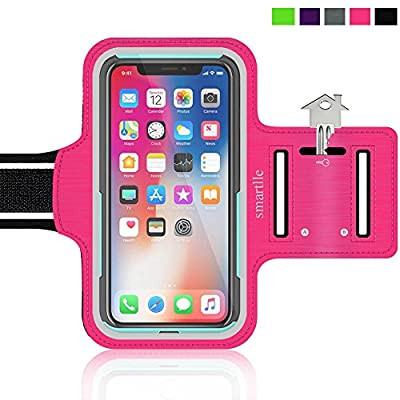 Water Resistant Cell Phone Armband: 4.7 Inch Case for iPhone 8, 7, 6, 6S, SE, and Galaxy S5, Google Pixel - Adjustable Reflective Velcro Workout Band, Key Holder & Screen Protector