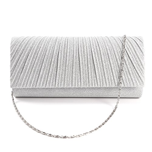 Honeycomb Designed Sparkle Glitter Evening Clutch Bag Bridal Wedding Handbag (Silver)