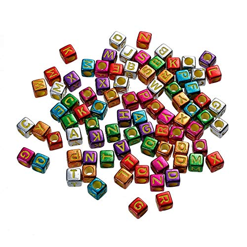 (iZasky Letter Beads 500Pcs/Lot Mixed Color Alphabet Cube Bead Making Bracelets, Necklaces, Jewelry and Key Chains)