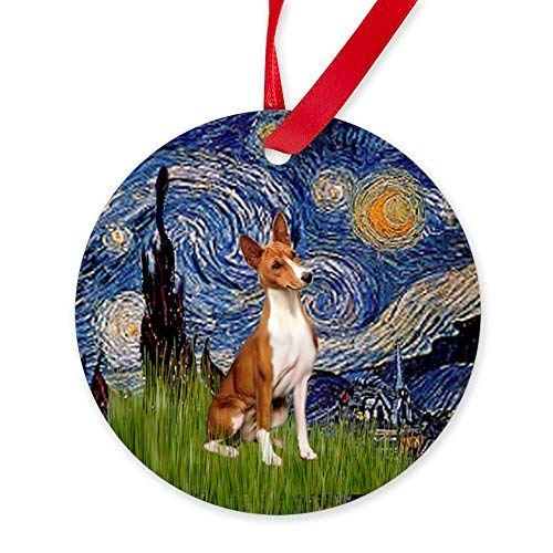 Basenji Ornaments - Lionkin8 Holiday Ornaments for Xmas Tree Starry Night Basenji Ornament Round Craft Gift Ceramic Ornament Decorations - 3 inch