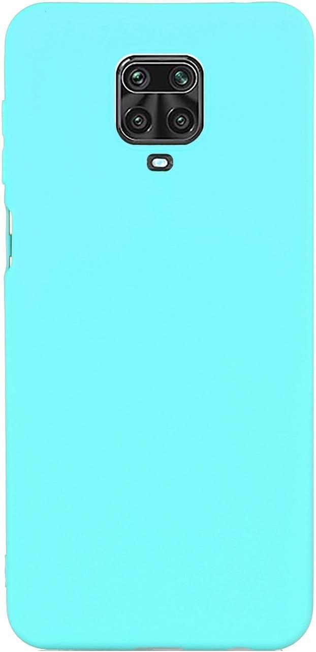CUZZCASE Funda para Xiaomi Redmi Note 9S/Redmi Note 9 Pro/Poco M2 Pro+{Protector de Pantalla de Vidrio Templado} Carcasa Silicona Suave Gel Rasguño y Resistente Teléfono Móvil Cover-Azul Claro