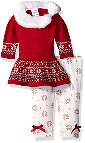 Blueberi Boulevard Baby Girls' Sweater Printed Legging Set, Fair Isle Red, 3/6 Months