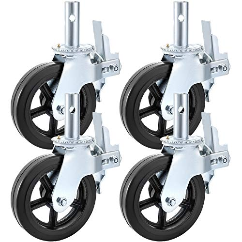 BestEquip 4 Pack Scaffolding Caster Wheels 8 x 2 Inch with Dual Locking Rubber Swivel Caster 360 Degrees Heavy Duty Casters 1100LBS Capacity per Wheel