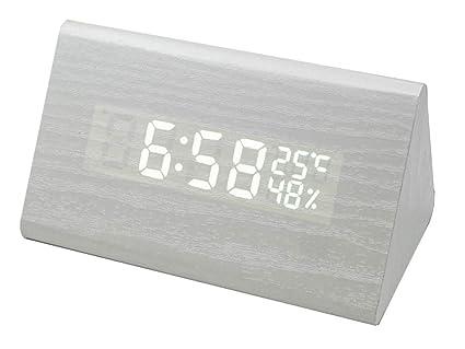 Novo - Reloj de escritorio de alarma LED moderno, imitación ...