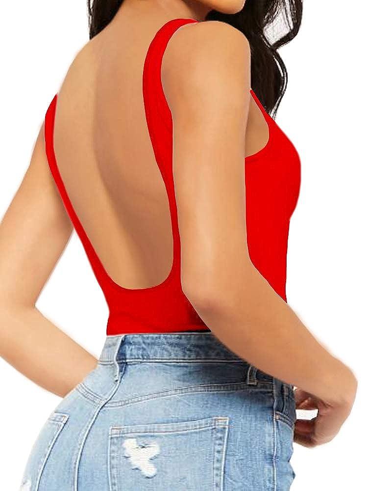 Tanbaby Mangopop Women's Backless Bodysuit Jumpsuits