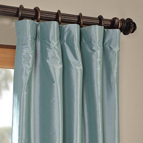Half Price Drapes PTCH-BO5-96 Blackout Faux Silk Taffeta Curtain, Robin's Egg by HPD Half Price Drapes (Image #2)